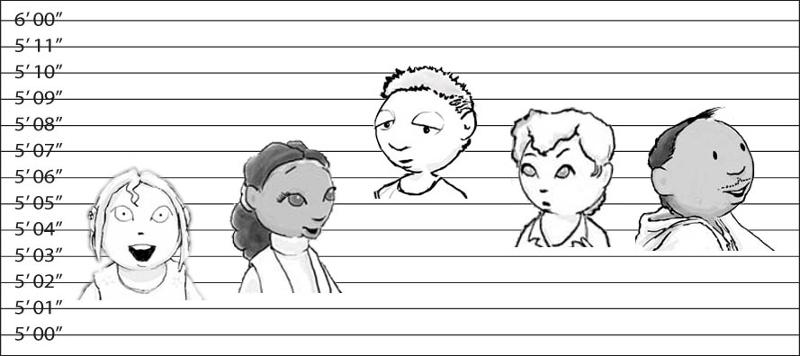 Height chart with five people